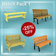 Game Dev için Bench Pack 1 Düşük Poli 3d model