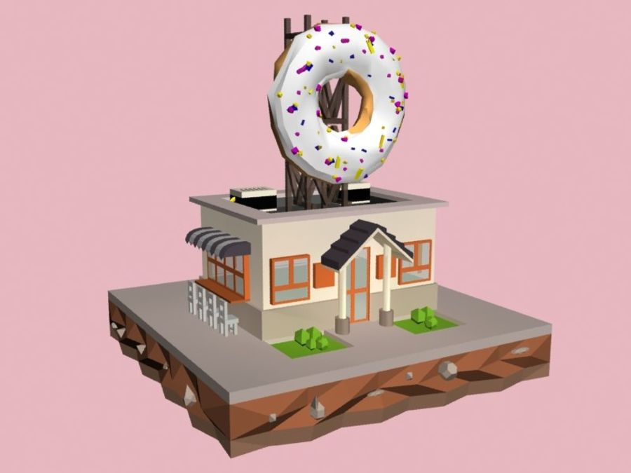 Donut House royalty-free 3d model - Preview no. 1