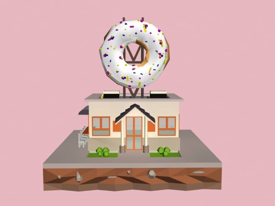 Donut House royalty-free 3d model - Preview no. 5
