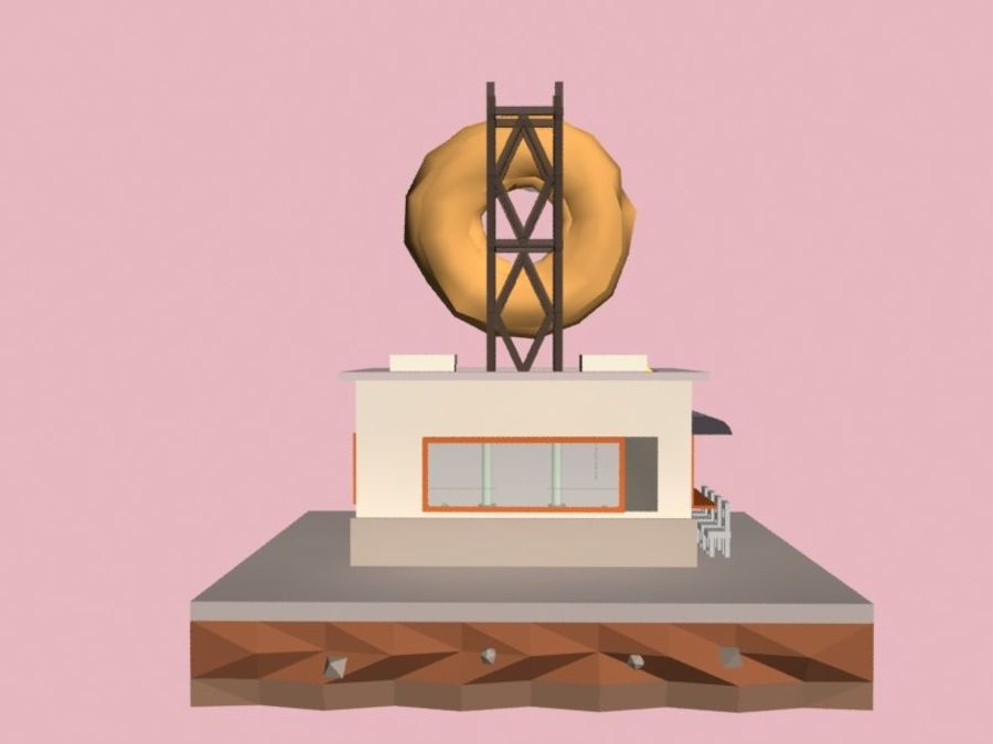 Donut House royalty-free 3d model - Preview no. 3