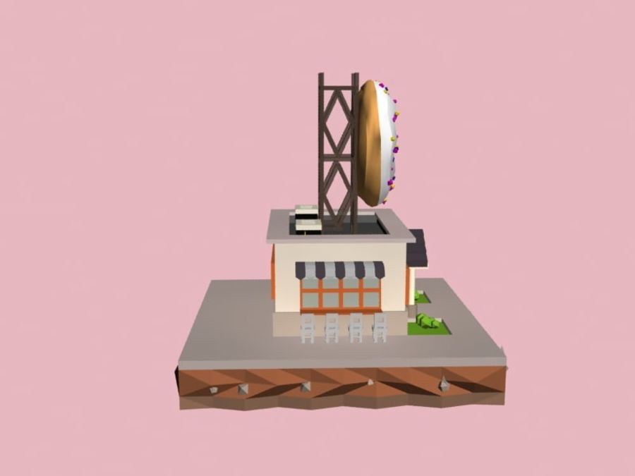 Donut House royalty-free 3d model - Preview no. 2