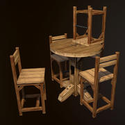 Rustic Pub Table and Chair 3d model