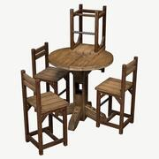 Rustykalny stół i krzesło do pubu 3d model