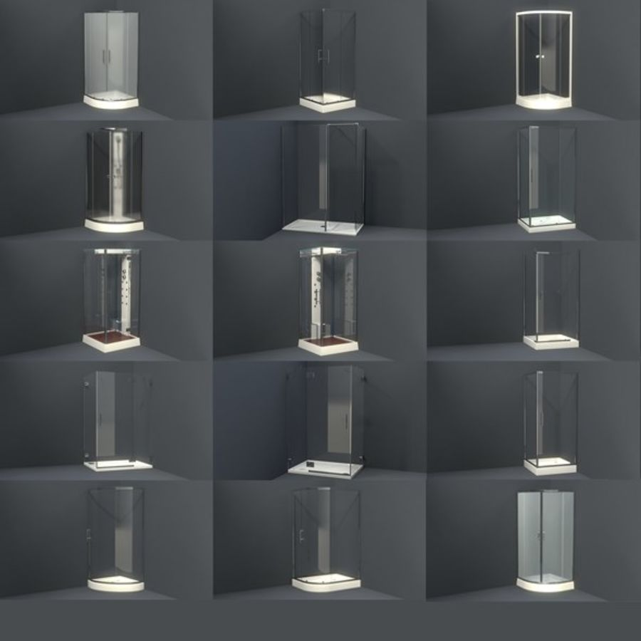 Bathroom shower corners bath corners collection volume royalty-free 3d model - Preview no. 2