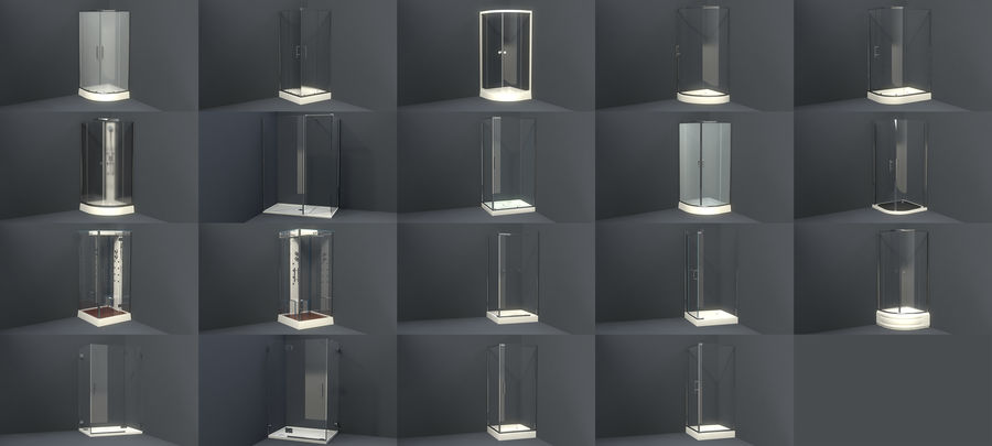 Bathroom shower corners bath corners collection volume royalty-free 3d model - Preview no. 1