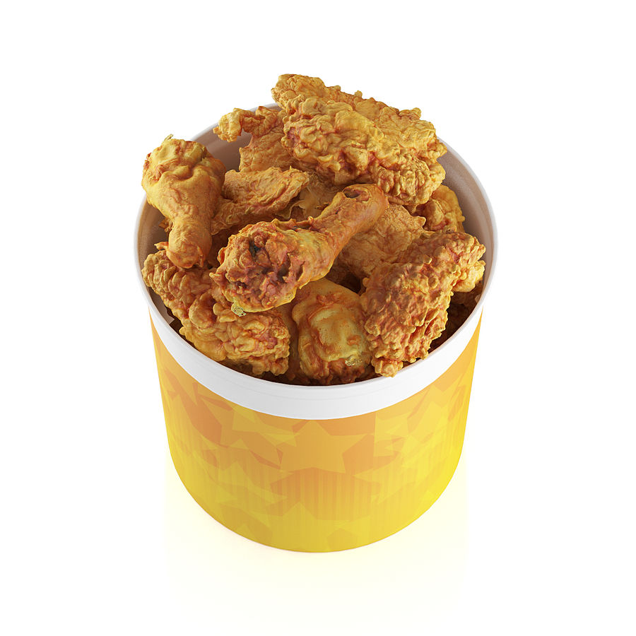 Fried chicken bucket royalty-free 3d model - Preview no. 7