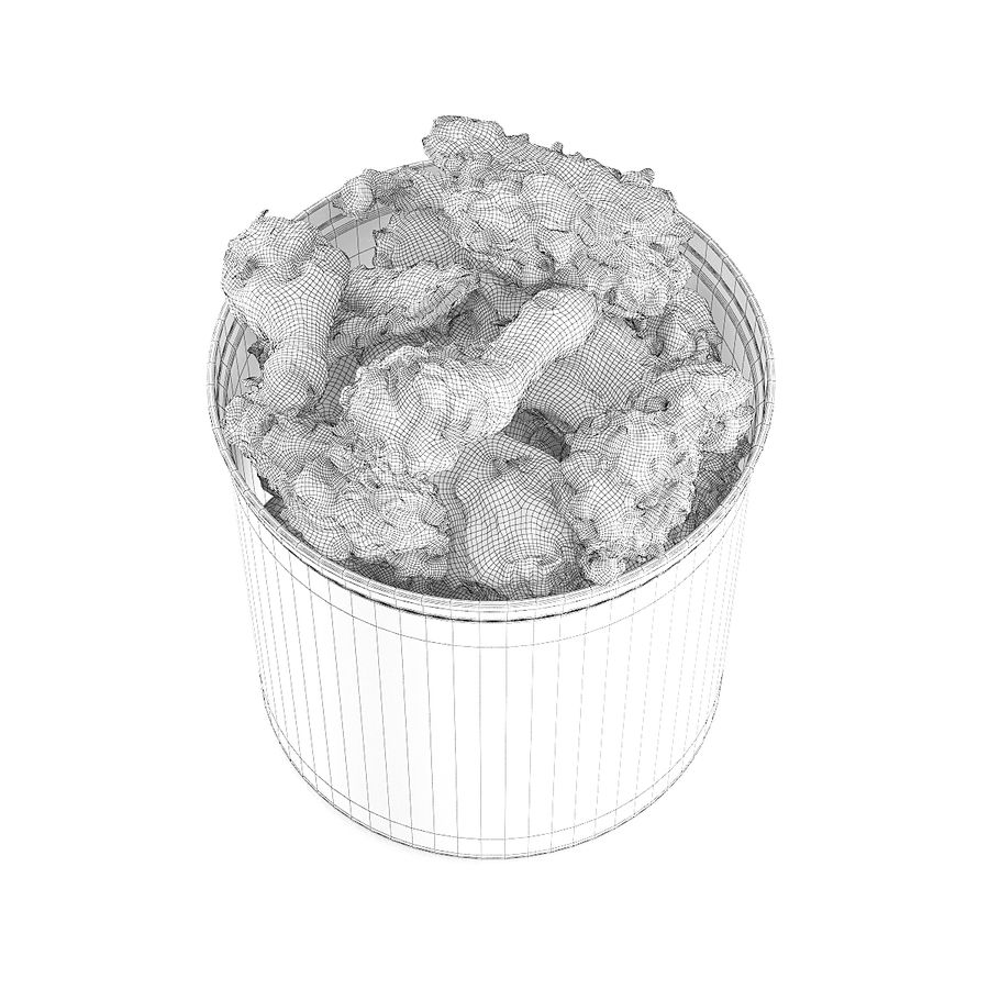 Fried chicken bucket royalty-free 3d model - Preview no. 8