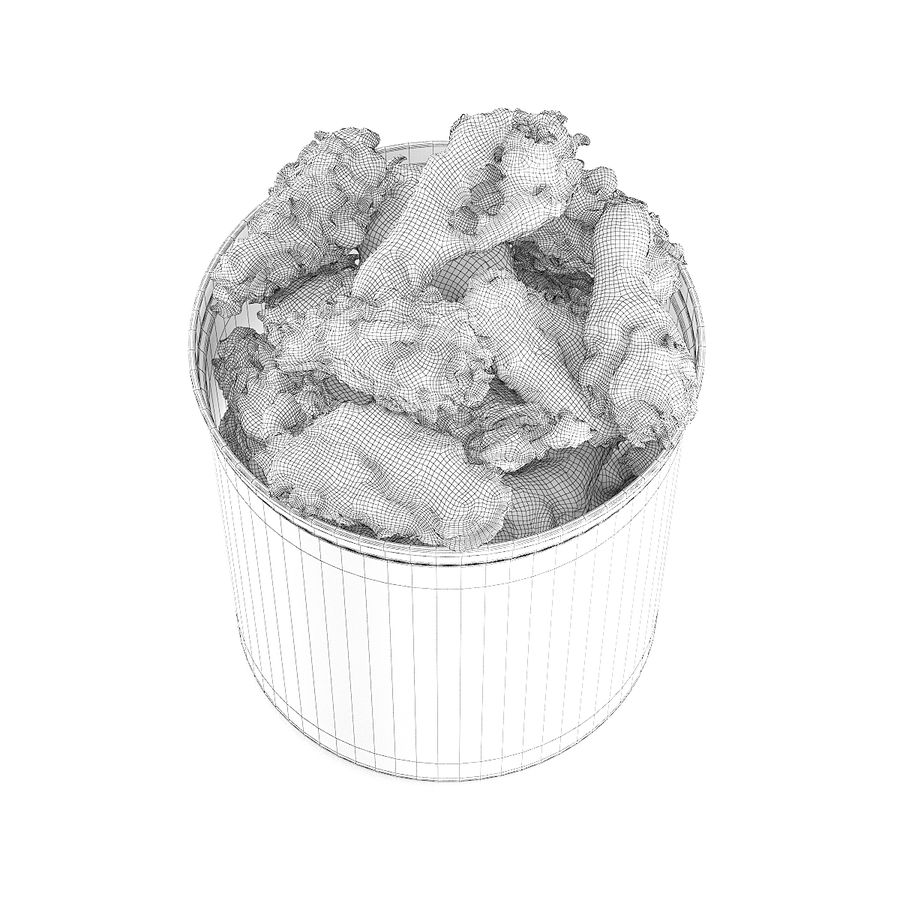 Fried chicken bucket royalty-free 3d model - Preview no. 6
