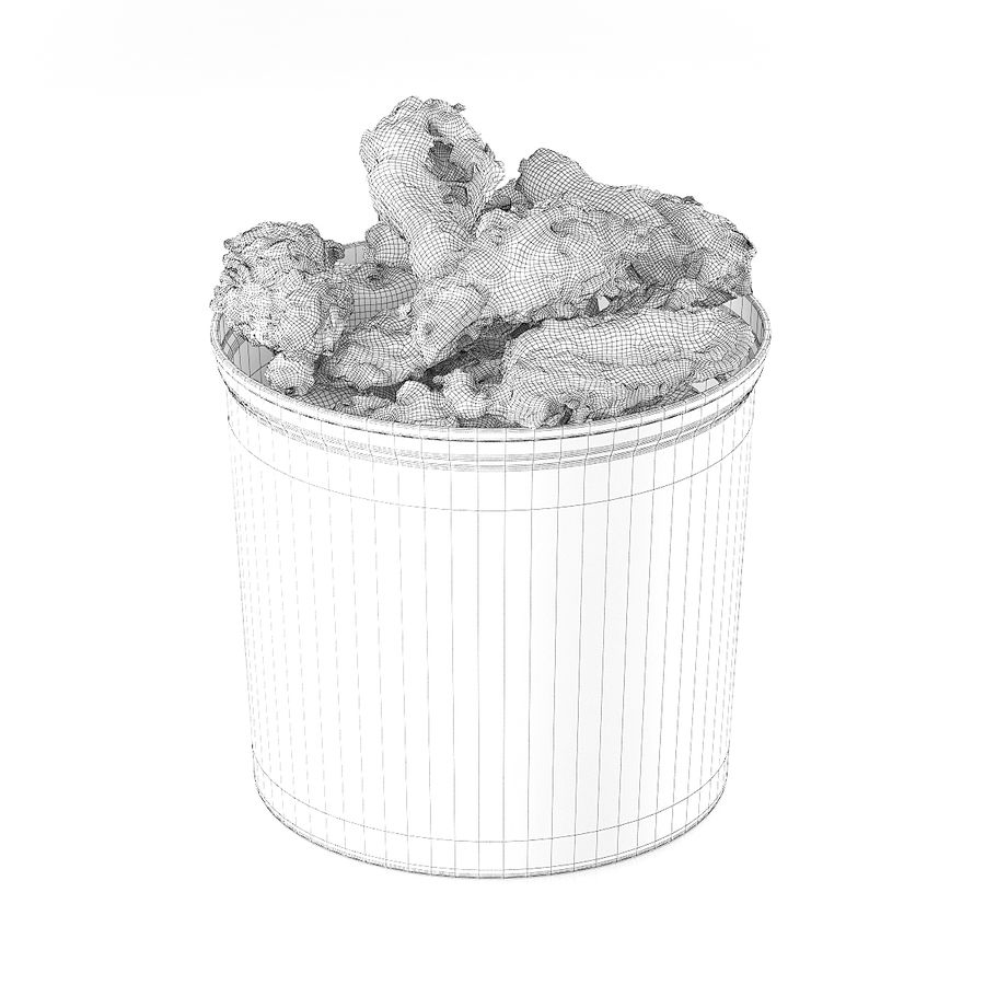 Fried chicken bucket royalty-free 3d model - Preview no. 2