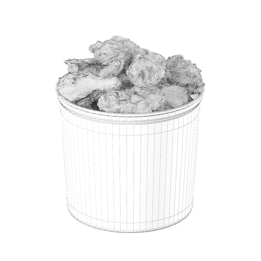 Fried chicken bucket royalty-free 3d model - Preview no. 4