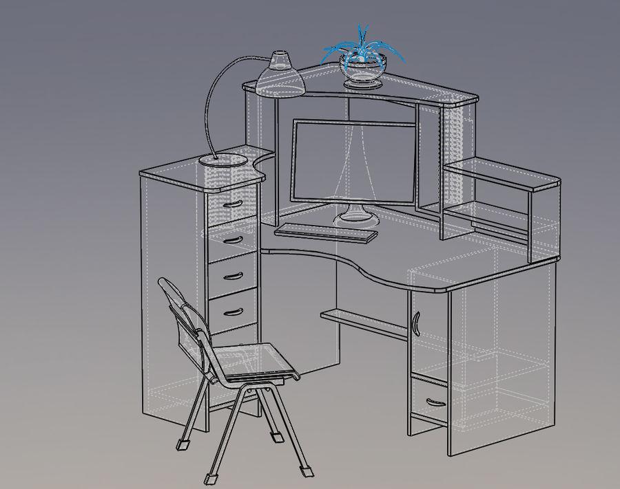 компьютерный стол royalty-free 3d model - Preview no. 4