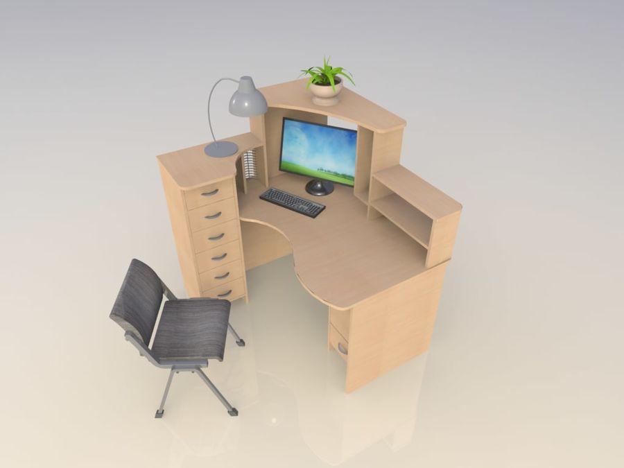 компьютерный стол royalty-free 3d model - Preview no. 3