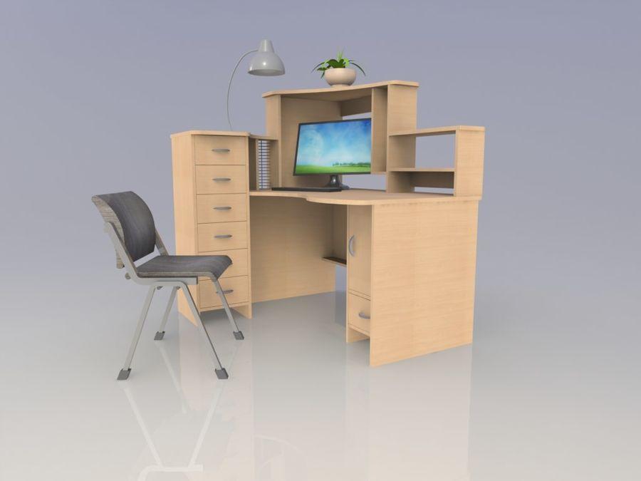 компьютерный стол royalty-free 3d model - Preview no. 2