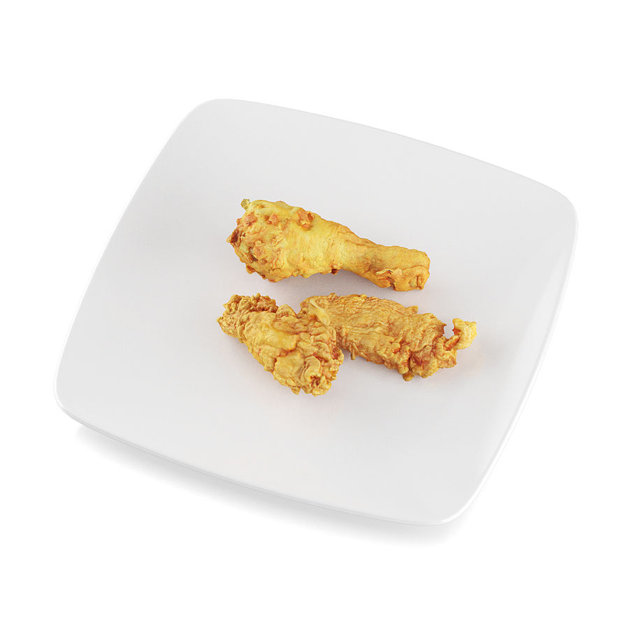 Fried chicken pieces royalty-free 3d model - Preview no. 5