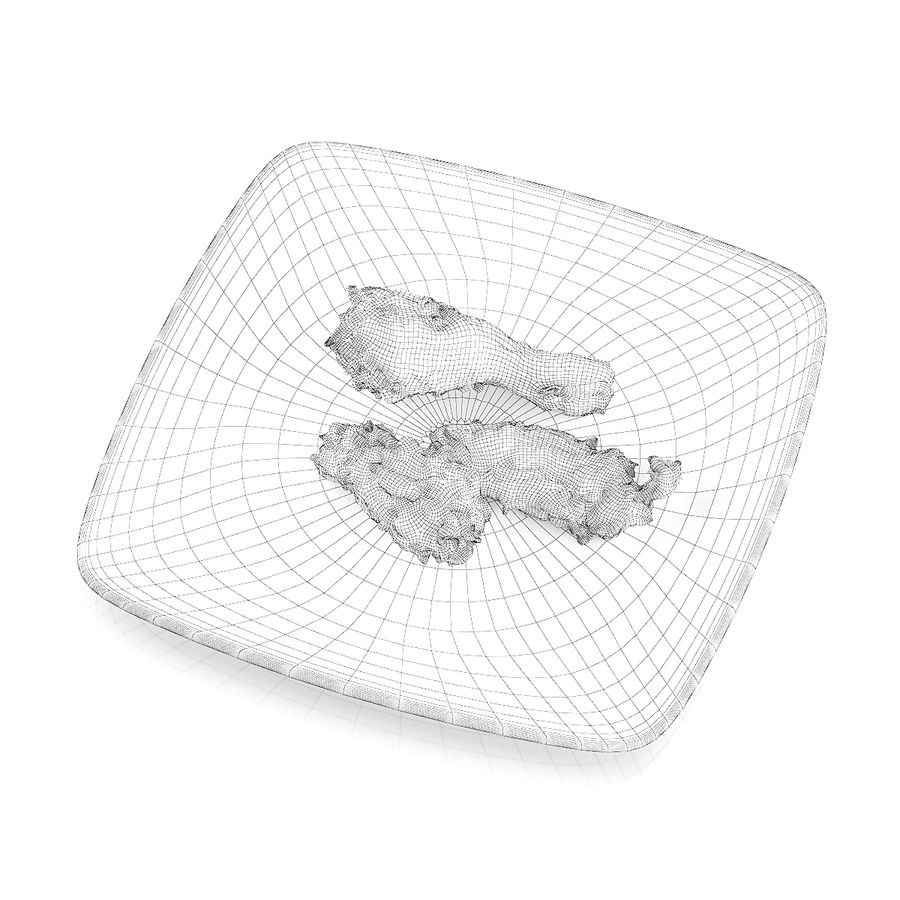 Fried chicken pieces royalty-free 3d model - Preview no. 6