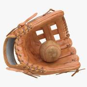 野球のグローブとボール 3d model