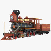 Steam Train with Wagon 3d model