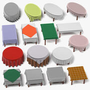Tables with Tableclothes Large Set 3d model