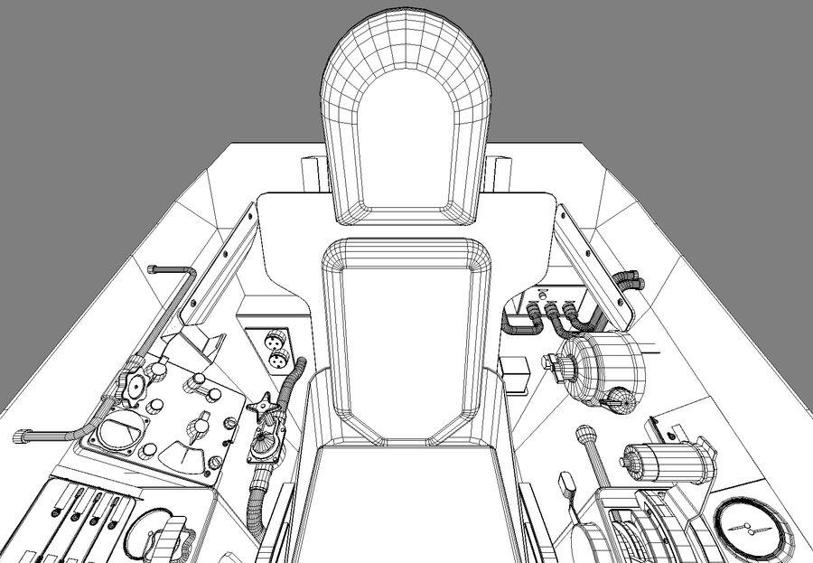 Cockpit do MiG-15. royalty-free 3d model - Preview no. 14