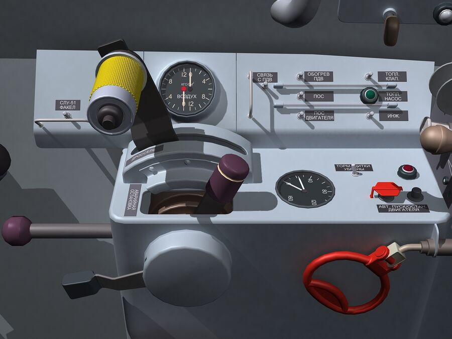 Cockpit do MiG-15. royalty-free 3d model - Preview no. 7