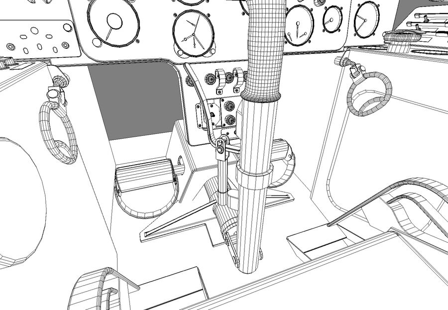 Cockpit do MiG-15. royalty-free 3d model - Preview no. 13