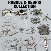 Colección de escombros y escombros modelo 3d