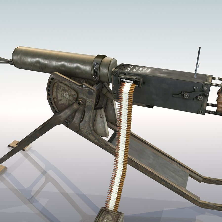 MG 08 Maschinengewehr 08 royalty-free 3d model - Preview no. 11