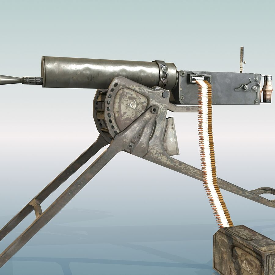 MG 08 Maschinengewehr 08 royalty-free 3d model - Preview no. 18