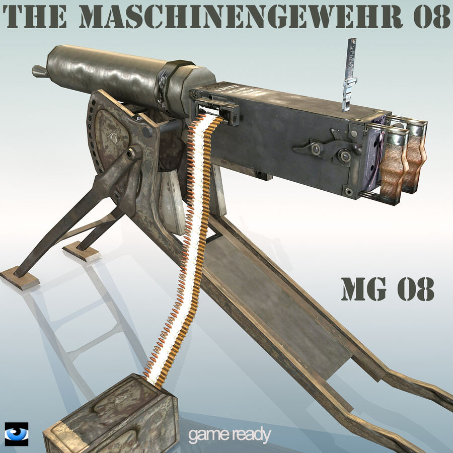 MG 08 Maschinengewehr 08 royalty-free 3d model - Preview no. 1