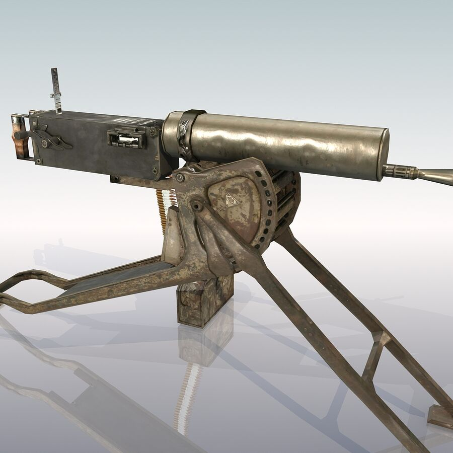 MG 08 Maschinengewehr 08 royalty-free 3d model - Preview no. 16