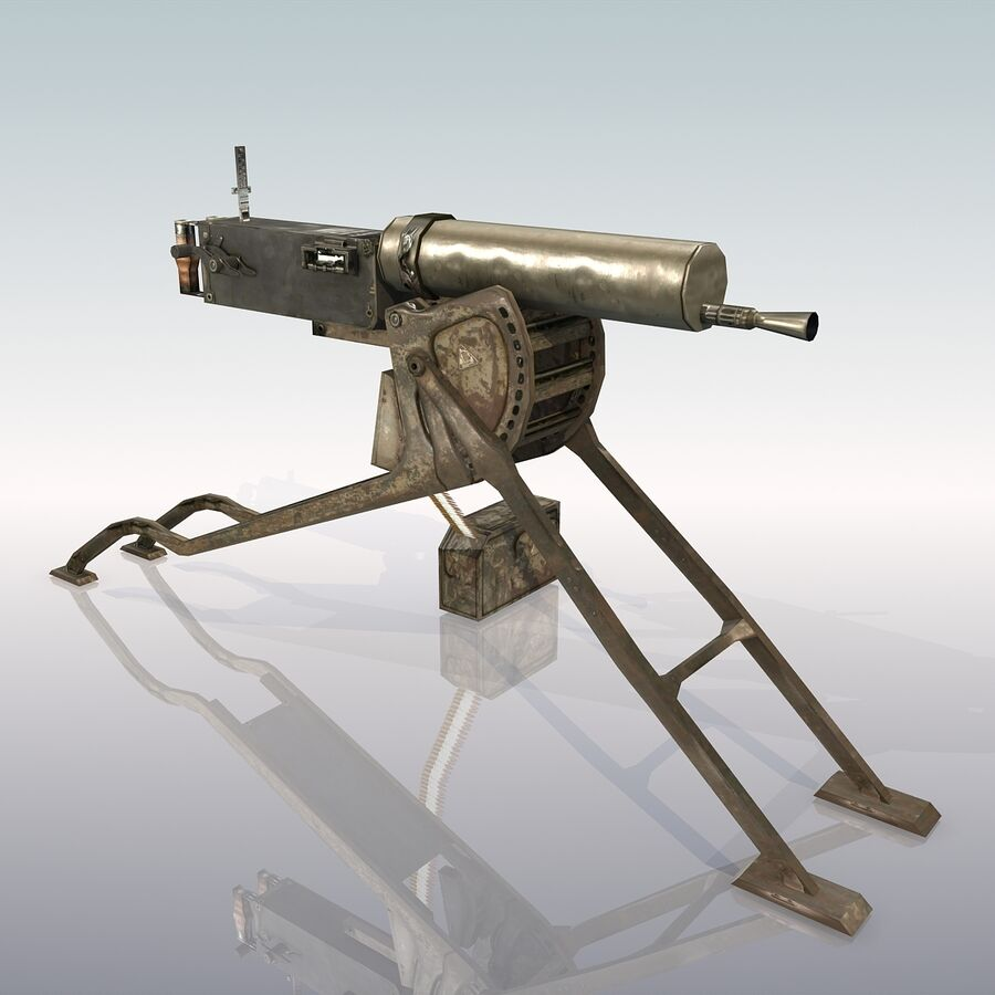 MG 08 Maschinengewehr 08 royalty-free 3d model - Preview no. 3