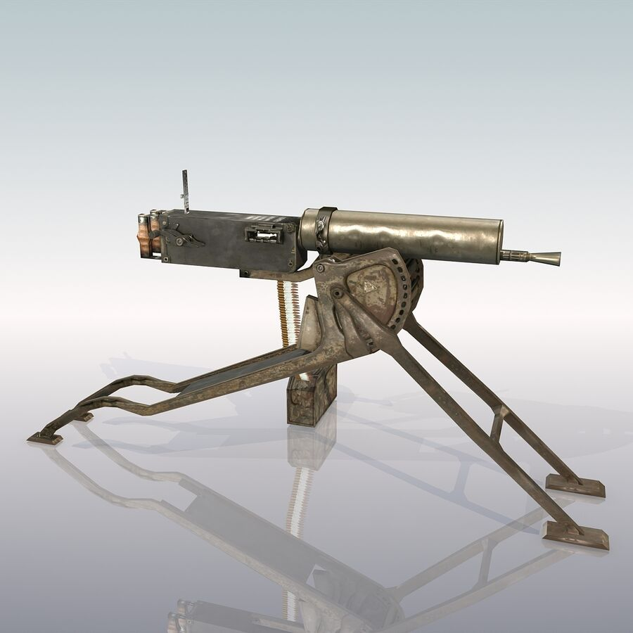 MG 08 Maschinengewehr 08 royalty-free 3d model - Preview no. 6