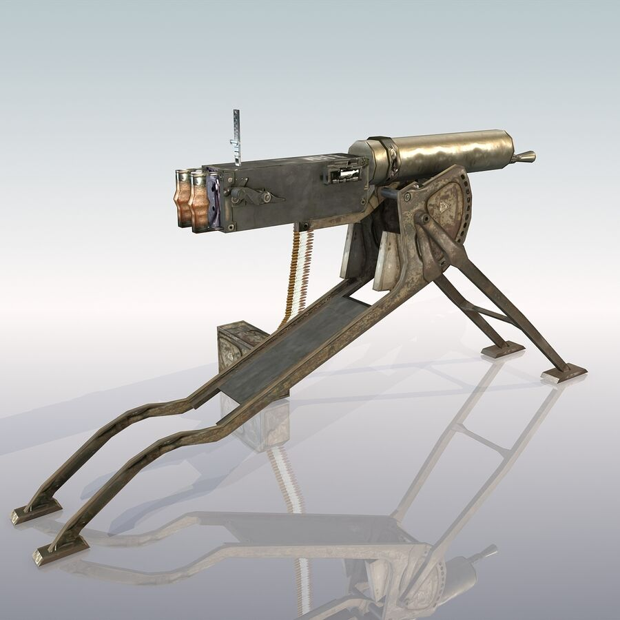 MG 08 Maschinengewehr 08 royalty-free 3d model - Preview no. 7