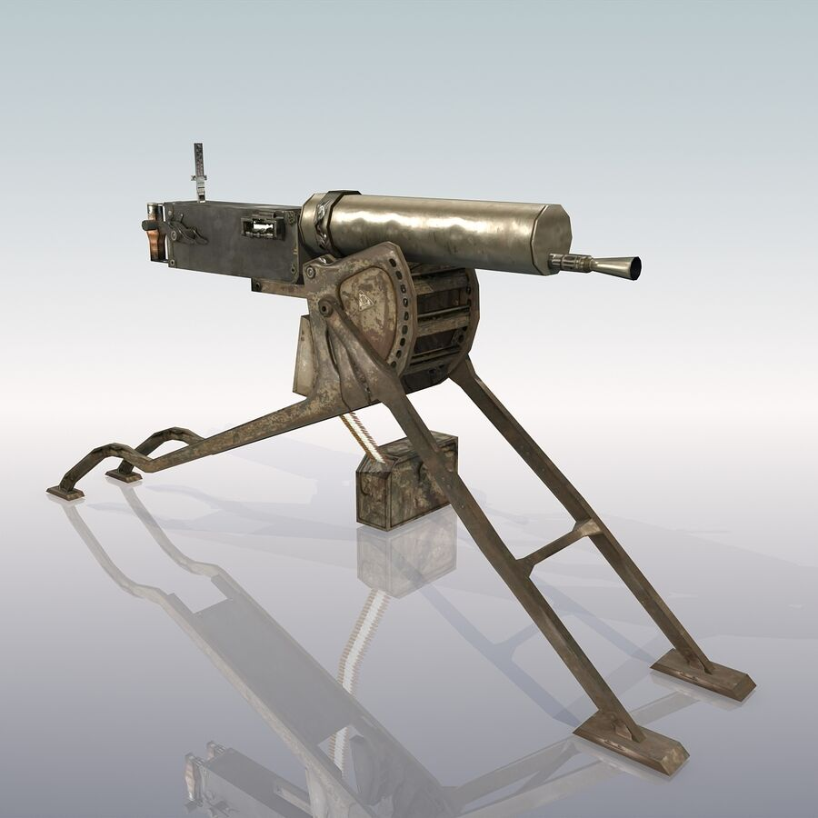 MG 08 Maschinengewehr 08 royalty-free 3d model - Preview no. 2