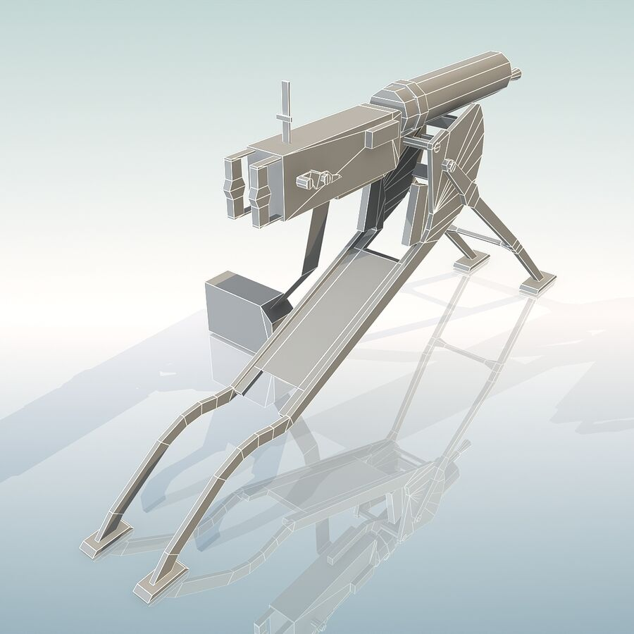 MG 08 Maschinengewehr 08 royalty-free 3d model - Preview no. 23