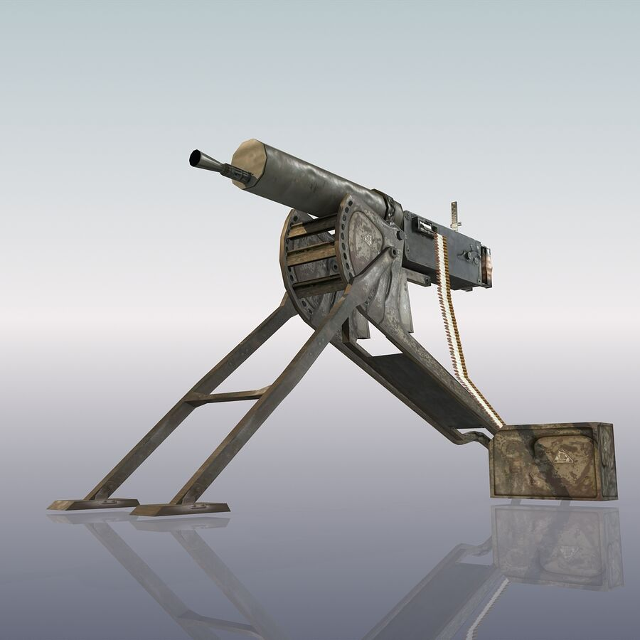 MG 08 Maschinengewehr 08 royalty-free 3d model - Preview no. 15