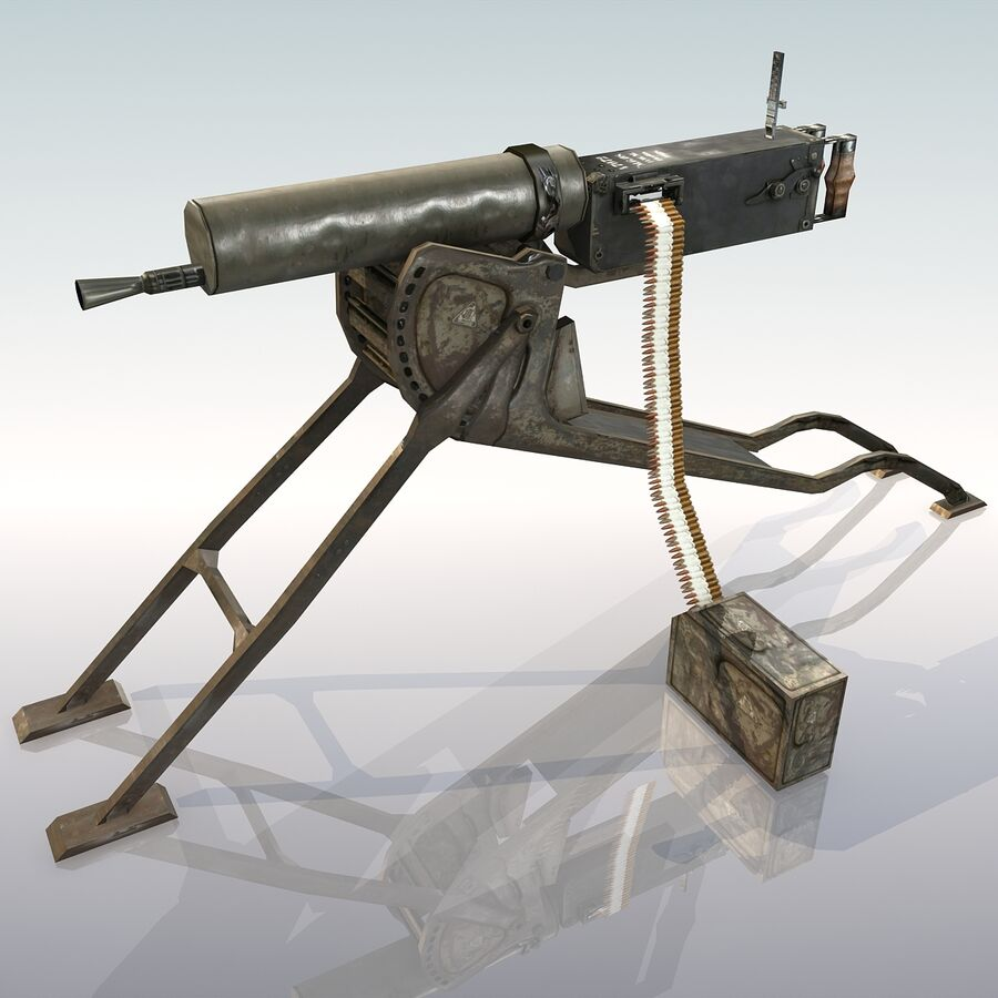 MG 08 Maschinengewehr 08 royalty-free 3d model - Preview no. 12