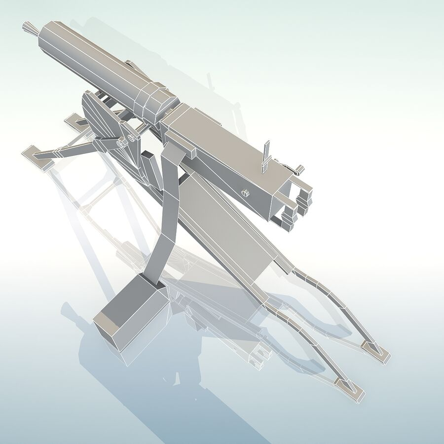 MG 08 Maschinengewehr 08 royalty-free 3d model - Preview no. 25