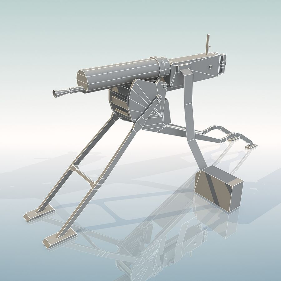MG 08 Maschinengewehr 08 royalty-free 3d model - Preview no. 21