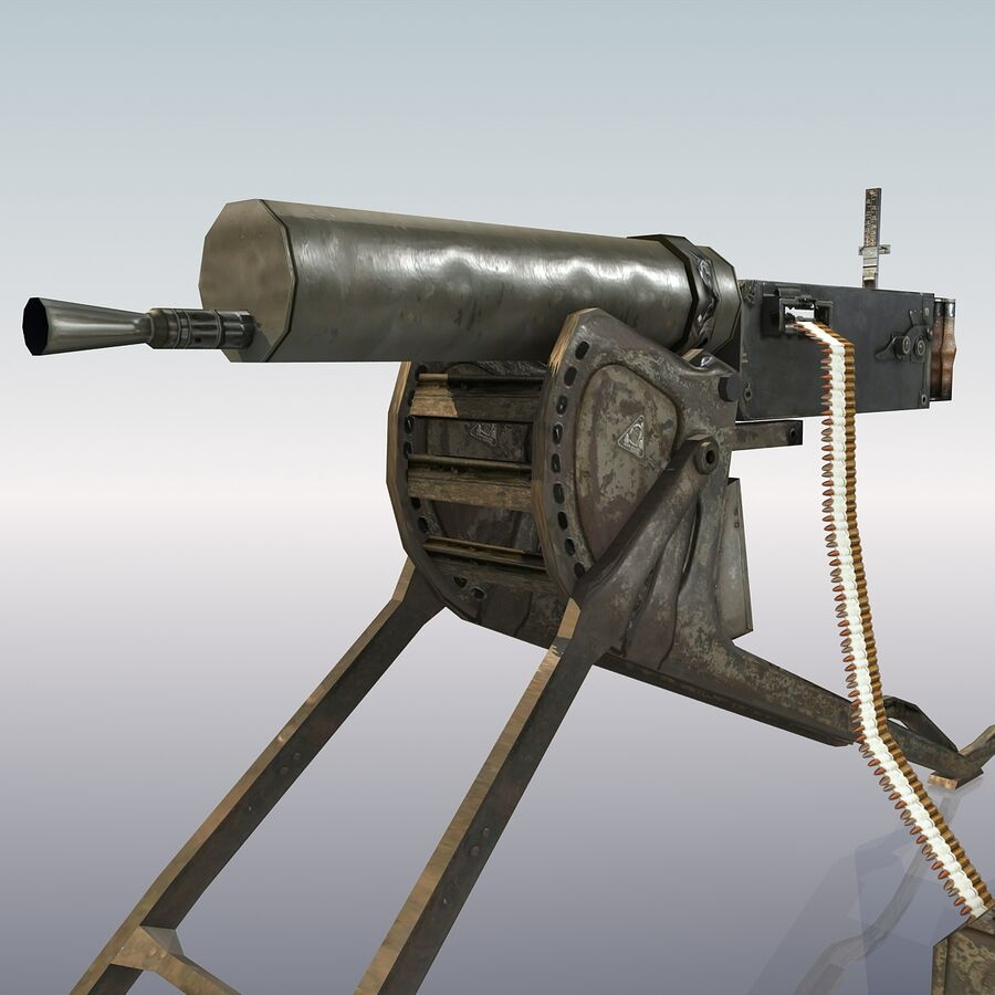 MG 08 Maschinengewehr 08 royalty-free 3d model - Preview no. 14