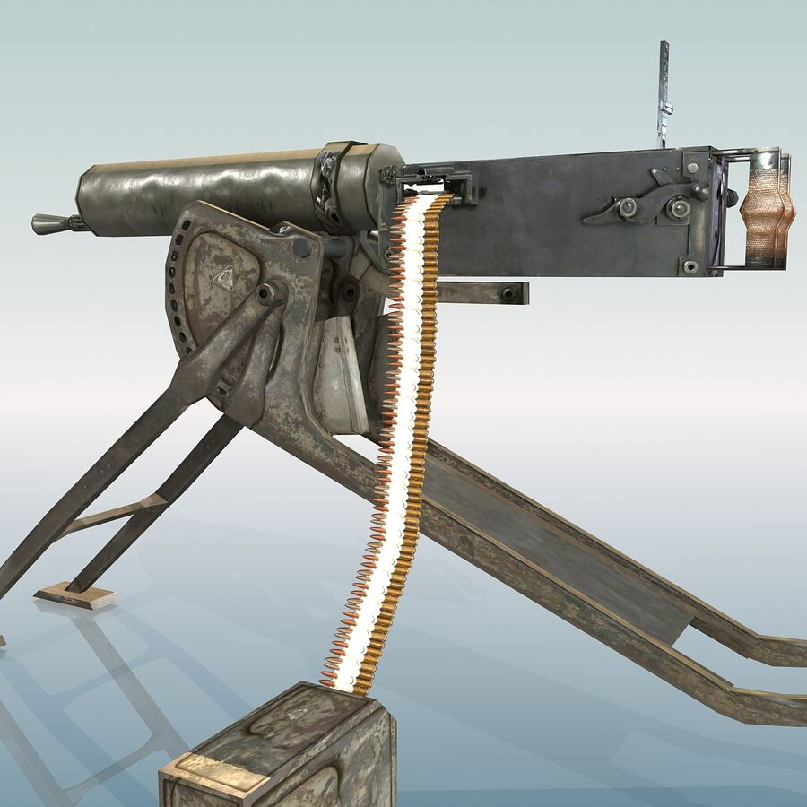 MG 08 Maschinengewehr 08 royalty-free 3d model - Preview no. 19