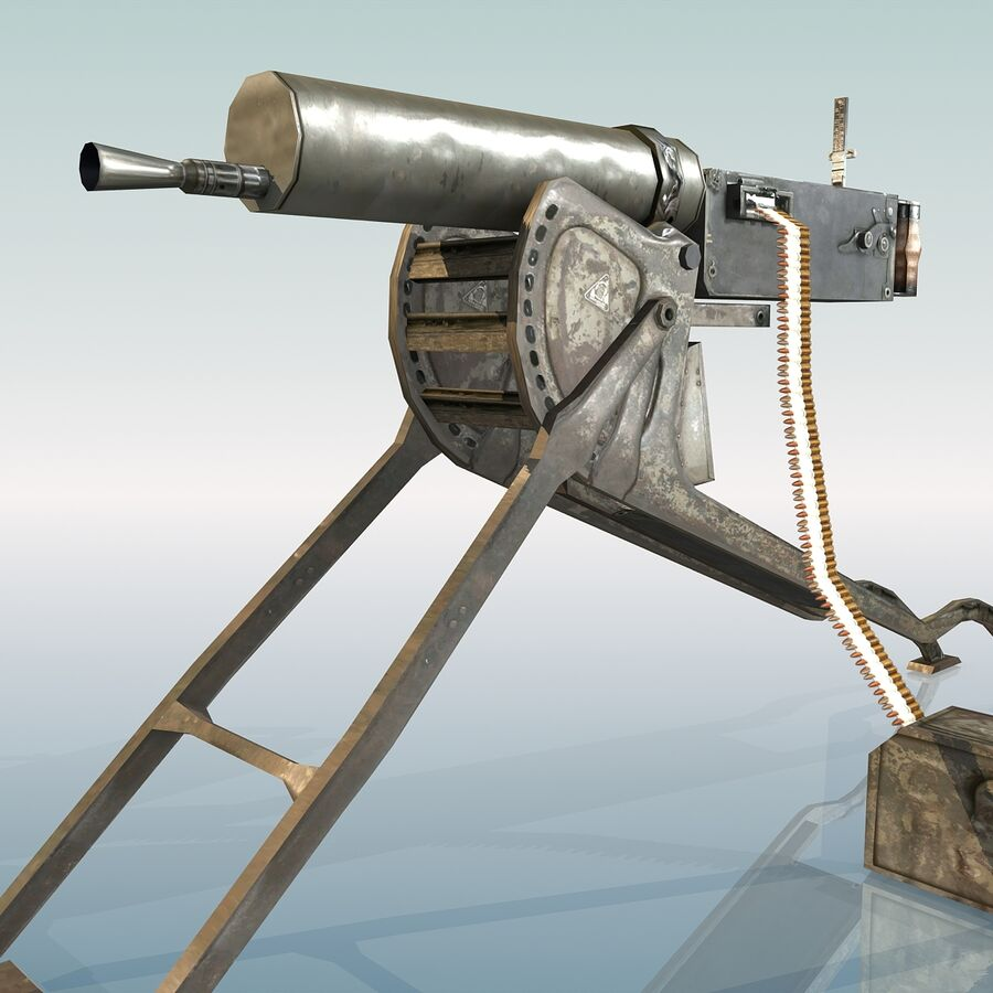 MG 08 Maschinengewehr 08 royalty-free 3d model - Preview no. 17