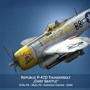 República P-47D Thunderbolt - Chefe Seattle 3d model