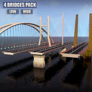 Suspended water road bridge pack collection 3d model