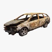 烧毁的汽车残骸总部 3d model