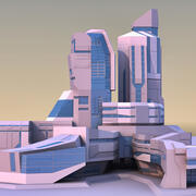 Futurystyczne miasto 02 3d model