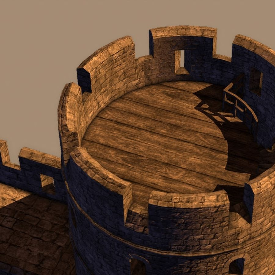 Modular Round Castle Towers Creation Set royalty-free 3d model - Preview no. 39