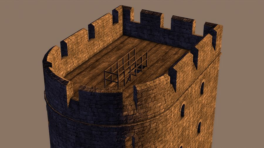 Modular Round Castle Towers Creation Set royalty-free 3d model - Preview no. 30
