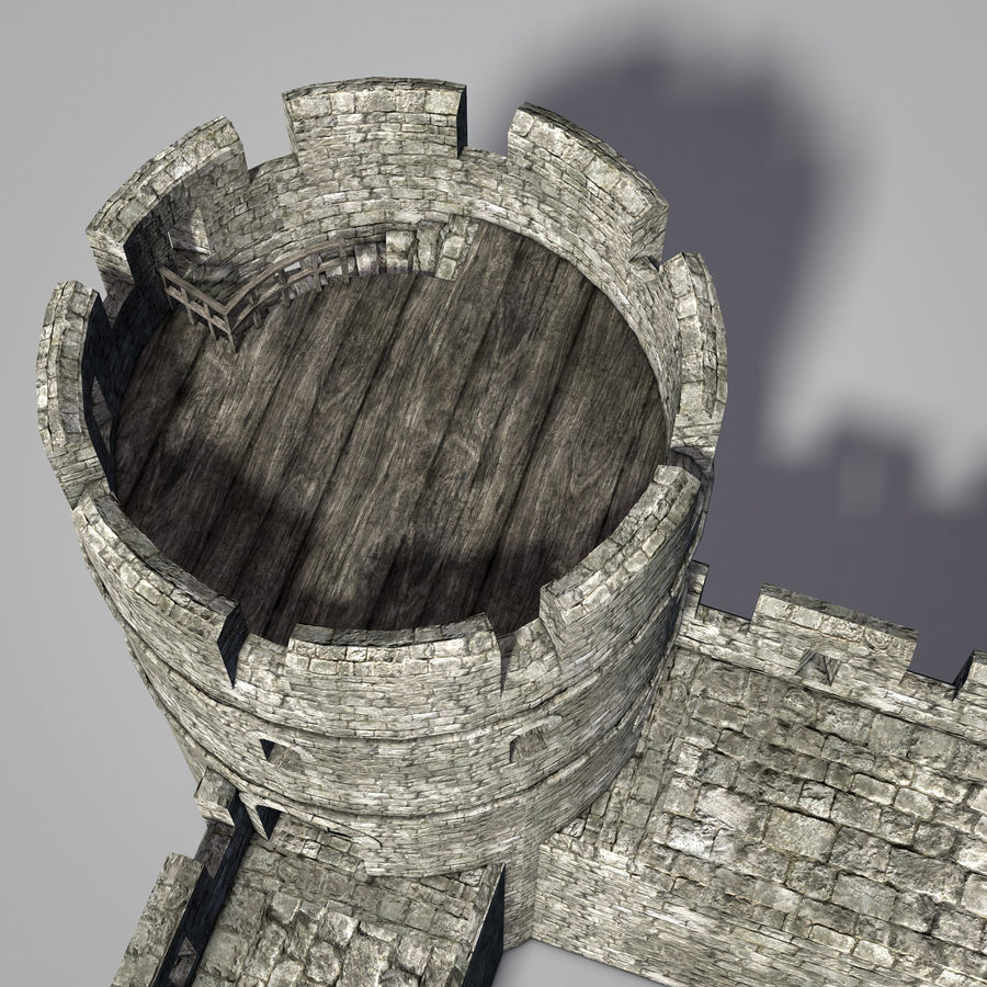 Modular Round Castle Towers Creation Set royalty-free 3d model - Preview no. 9