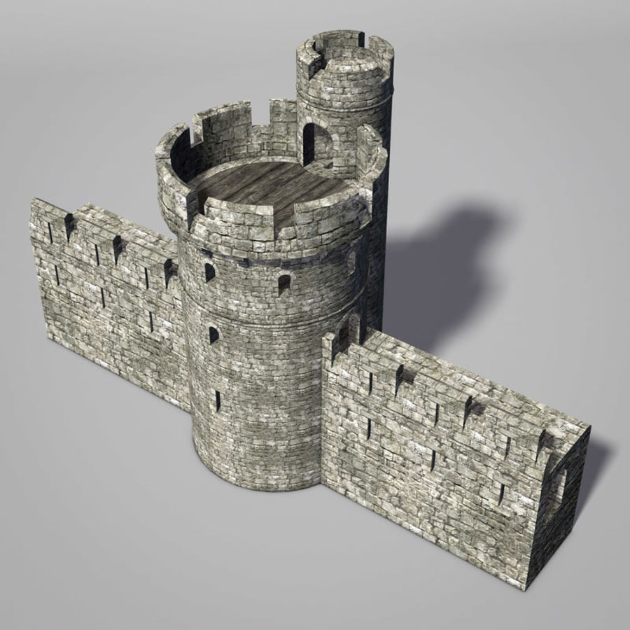 Modular Round Castle Towers Creation Set royalty-free 3d model - Preview no. 11